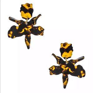 Lele Sadoughi Small Paper Lily Tortoise Earrings